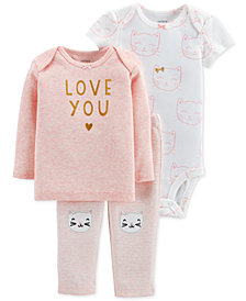 Carter's Baby Girls 3-Pc. Love You T-Shirt, Bodysuit & Pants Set