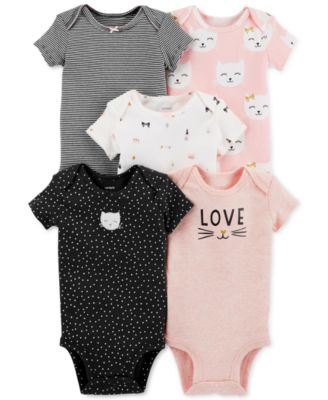 Baby Carters Baby Girls 5 Pack Bodysuits Assorted Solids