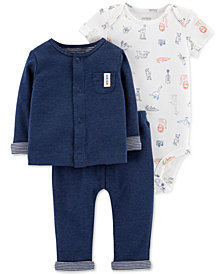 Carter's Baby Boys 3-Pc. Cardigan, Bodysuit & Pants Set
