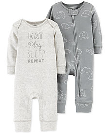 Carter's Baby Boys or Girls 2-Pack Printed Cotton Coveralls