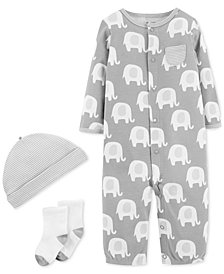 Carter's Baby Boys or Girls 3-Pc. Elephant-Print Cotton Coverall, Hat & Socks Set
