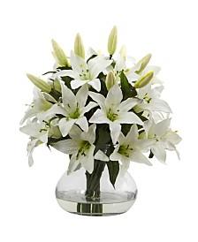 "Nearly Natural 16""H Lily Silk Arrangement"