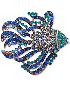 Anne Klein Silver-Tone Crystal Fish Pin, Created for Macy's