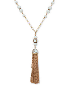 "Anne Klein Gold-Tone Pavé & Bead Chain Tassel 38"" Pendant Necklace"