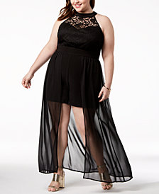 Love Squared Trendy Plus Size Lace Halter Romper Dress