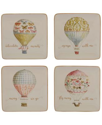 Beautiful Romance Balloon Dessert Plates, Set of 4