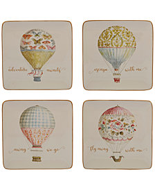 Certified International Beautiful Romance Balloon Dessert Plates, Set of 4