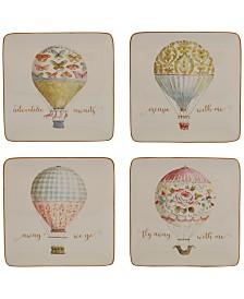 Certified International Beautiful Romance Balloon Dessert Plates, Set of 4