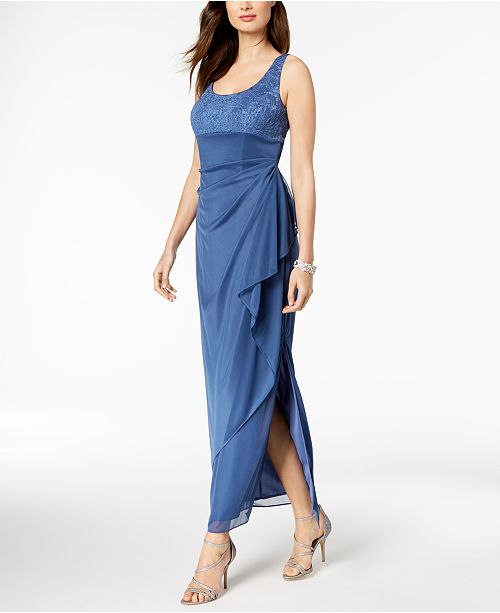 Alex Evenings Draped Jacquard Gown & Jacket - Dresses - Macy\'s