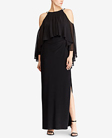 Lauren Ralph Lauren Beaded Cold-Shoulder Gown