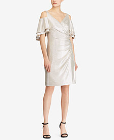 Lauren Ralph Lauren Metallic Cold-Shoulder Dress, Created for Macy's