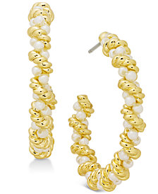 Charter Club Gold-Tone Imitation Pearl Twist Hoop Earrings, Created for Macy's
