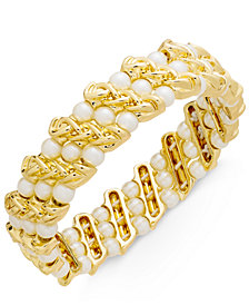 Charter Club Gold-Tone Imitation Pearl & Chain Stretch Bracelet, Created for Macy's