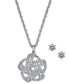 2-Pc. Silver-Tone Set Crystal Baguette Knot Pendant Necklace & Crystal Stud Earrings, Created for Macy's