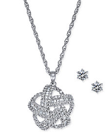 Charter Club Silver-Tone 2-Pc. Set Crystal Baguette Knot Pendant Necklace & Crystal Stud Earrings, Created for Macy's