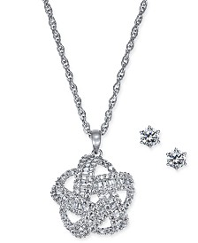 Charter Club 2-Pc. Silver-Tone Set Crystal Baguette Knot Pendant Necklace & Crystal Stud Earrings, Created for Macy's