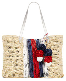 I.N.C. Bettsi Stripe Straw Tote, Created for Macy's