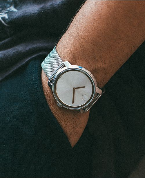 25ba88467601d ... Movado Unisex Swiss Bold Stainless Steel Mesh Bracelet Watch 44mm  3600260 ...