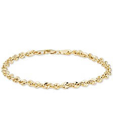 Single Row Rope Chain Bracelet in 14k Gold, Made in Italy