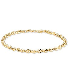 Italian Gold Single Row Rope Chain Bracelet in 14k Gold, Made in Italy