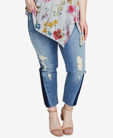 RACHEL Rachel Roy Trendy Plus Size Two-Tone Jeans
