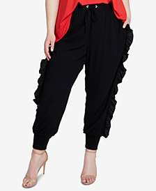 RACHEL Rachel Roy Trendy Plus Size Ruffled Jogger Pants