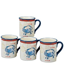 Certified International Coastal Life Crab Mugs, Set of 4
