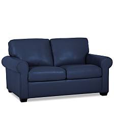 """Orid 59"""" Leather Loveseat, Created for Macy's"""