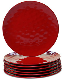 Certified International 6-Pc. Red Melamine Dinner Plate Set