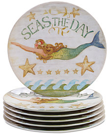 Certified International Sea Beauty Set of 6 Dinner Plates