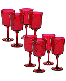 Certified International Ruby Diamond Acrylic Set of 8 All-Purpose Goblets