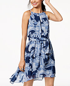 BCX Juniors' Printed Scalloped Chiffon Dress