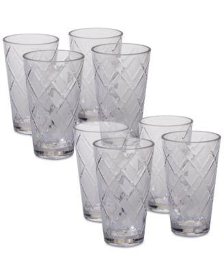 Clear Diamond Acrylic 8-Pc. Iced Tea Glass Set