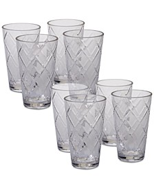 Clear Diamond Acrylic 8-Pc. Iced Tea Glass Set
