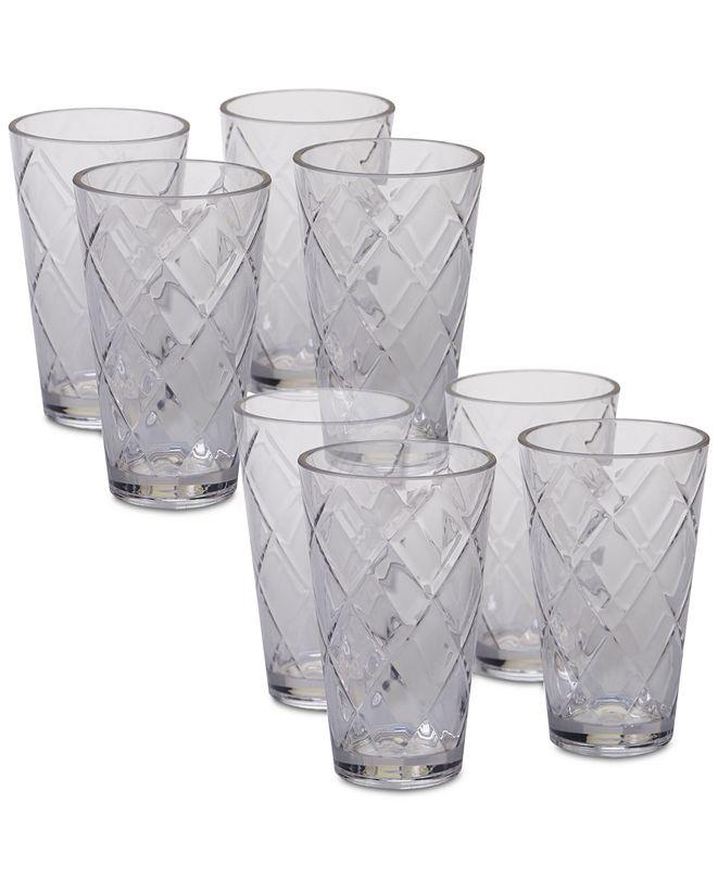 Certified International Clear Diamond Acrylic 8-Pc. Iced Tea Glass Set