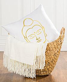 "Cathy's Concepts Gold Metallic-Print Buddha 16"" Square Decorative Pillow"