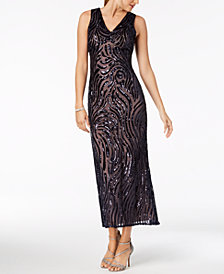Nightway Petite Sleeveless V-Neck Sequin Gown