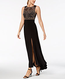 Nightway Petite Beaded Illusion Gown