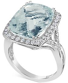 Aquamarine (9-1/2 ct. t.w.) & Diamond (3/8 ct. t.w.) Ring in 14k White Gold