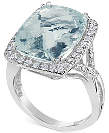 Aquamarine (9-1/2 ct. t.w.) & Diamond (3/8 ct. t.w.) Ring in 14k White Gold
