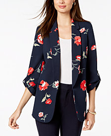 Nine West Floral-Print Open-Front Jacket