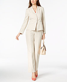 Le Suit Striped Three-Button Notch Lapel Pantsuit, Regular & Petite