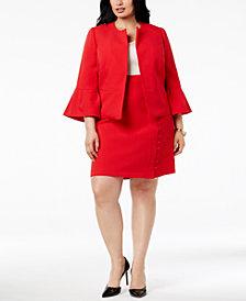 Nine West Plus Size Ruffle-Sleeve Jacket & Crepe Skirt