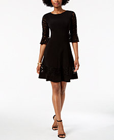 Jessica Howard Petite Lace-Sleeve A-Line Dress