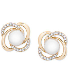 Cultured Freshwater Pearl (6mm) & Diamond (1/6 ct. t.w.) Openwork Knot Stud Earrings in 14k Gold
