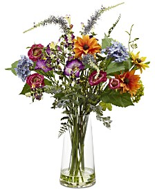 Nearly Natural Spring Garden Artificial Floral Arrangement with Vase