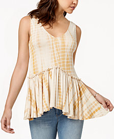 American Rag Juniors' Lace-Up Peplum Top, Created for Macy's
