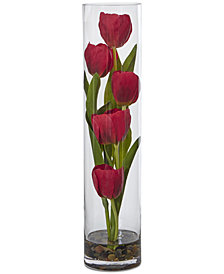 "Nearly Natural Tulips Artificial Arrangement in 18"" Cylinder Glass"