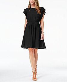 Monteau Petite Ruffle-Sleeve Fit & Flare Dress, Created for Macy's
