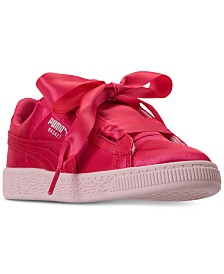 Puma Little Girls' Basket Heart Tween Jr Casual Sneakers from Finish Line